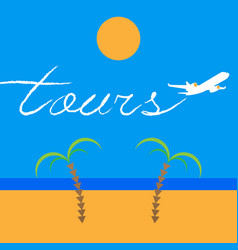 Jet airplane writing a word tours vector