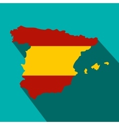Map of Spain in Spanish flag colors icon vector image