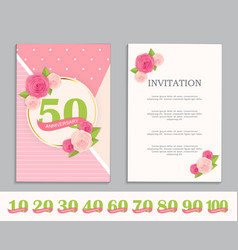 Nature flower cute template set of anniversary vector