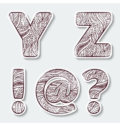 Set of capital letters Y Z from the alphabet vector image vector image