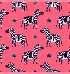 black and white zebra vector image vector image