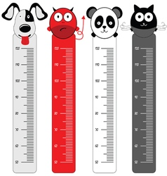 children meter wall with funny animal vector image