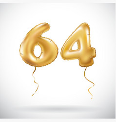golden number 64 sixty four metallic balloon vector image vector image