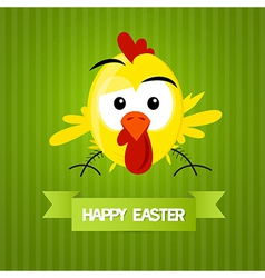 Green Easter Background with Yellow Funny Chicken vector image