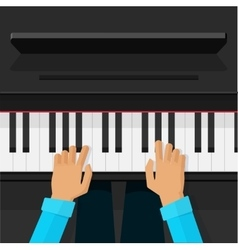Pianist artist hands playing on piano keys vector image