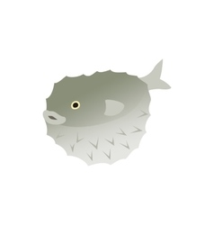 Puffer fish icon isometric 3d style vector image vector image