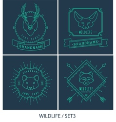 Trendy Retro Vintage Insignias Bundle Animals vector image vector image