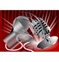 Two microphones vector image vector image