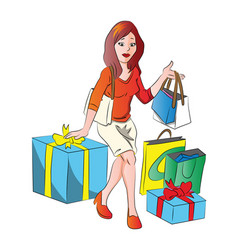 woman with giftbox and shopping bags vector image vector image