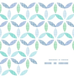 Abstract textile blue green leaves frame corner vector image