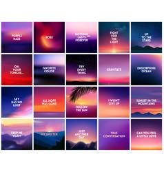 big set of 20 square blurred nature purple pink vector image