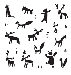 Siberia Primitive painting set vector image vector image