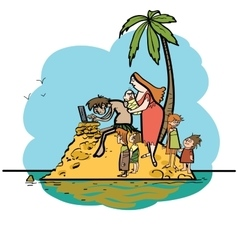 The programmer is on vacation desert island and vector image