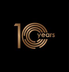 10 year anniversary luxury gold black logo vector