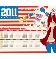 2011 american calendar vector image