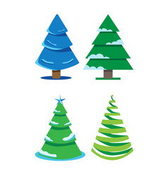 A set of four fir-trees of different shapes vector