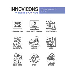 activities for kids - line design style icons set vector image