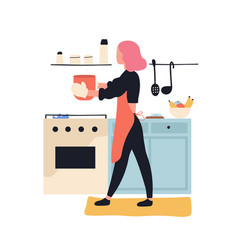 Adorable woman cooking in kitchen cute young girl vector