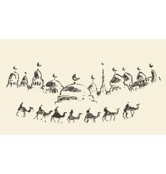 An Islamic holy Ramadan Kareem mosque camels drawn vector image