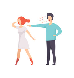 angry man screaming at young woman couple vector image