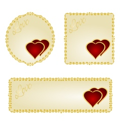 Banner and buttons Valentine day two red hearts vector