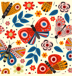 basic rgbyellow seamless pattern with butterflies vector image