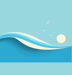 big ocean waves seascape seascape with sea waves vector image