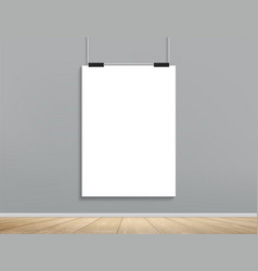 Blank white billboard is hanging on a cement wall vector