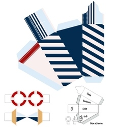 Box template Gift package Nautical style vector