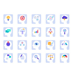 brain thinking process icons business idea vector image