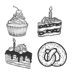 Cakes muffin and pastries set sketch vector