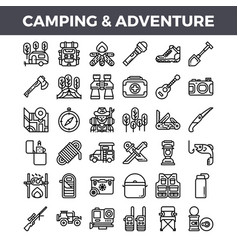 camping and outdoor adventure outline icons vector image