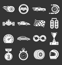 car race icons set grey vector image