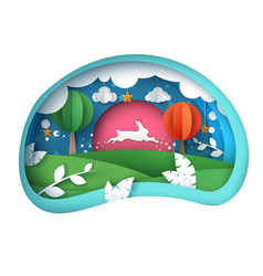 cartoon paper landscape rabbit vector image