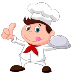 Chef cartoon holding a metal food platter and thum vector