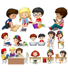 Children reading and learning vector