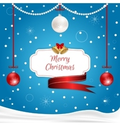 Christmas card blue with hanging red and white vector image