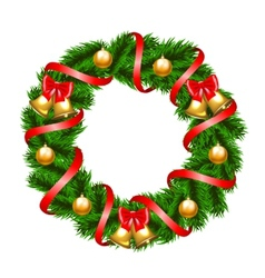 Christmas fir-tree wreath vector