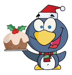 Christmas penguin holding christmas pudding vector