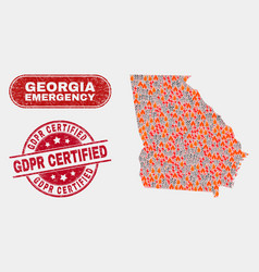 Crisis and emergency collage georgia state map vector