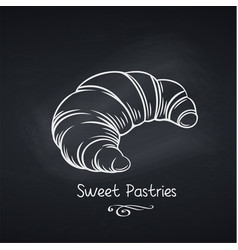 croissant on chalkboard vector image