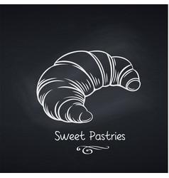 Croissant on chalkboard vector