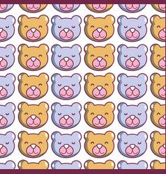 Cute teddy bear head background vector