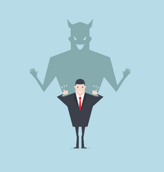 Devil shadow behind a smiling face of businessman vector