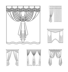 different kinds of curtains outline icons in set vector image