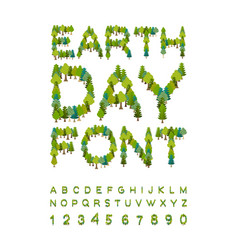 Earth day font forest alphabet letters from tree vector