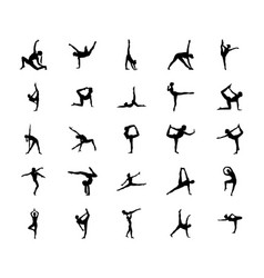 Easy gymnastic poses silhouette vector