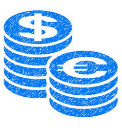 Euro and dollar coin columns grunge icon vector