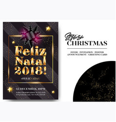 Feliz natal 2018 merry christmas in portuguese vector