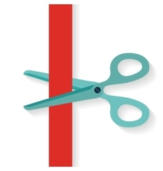 Flat design icon scissors cutting red vertical vector image
